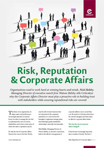 Risk, Reputation & Corporate Affairs